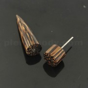 Organic Dark Palm Wood 12 mm Straight Fake Ear Plug