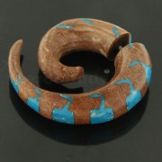 Organic Saba Wood 10 mm Spiral with Blue Inlay Fake Ear Plug