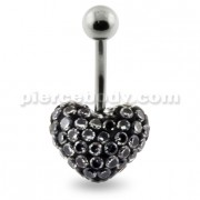Multi Jeweled Genuine CZ Heart Belly Button Rings