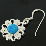 925 Sterling Silver Synthetic Dark Blue Opal in Flower Hook Ear Ring