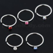925 Sterling Silver CZ Jeweled Nose Hoop Ring