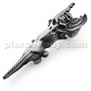 Full Finger Pewter Pterodactyl with Skull Armor Ring