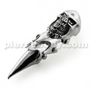 Full Finger Pewter Big Laughing Skull Armor Ring