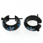 Organic Black Wood with Blue Flower Stick Earring