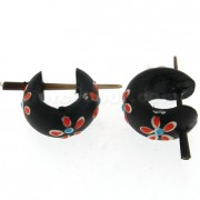 Organic Black Wood with Red Flower Stick Earring