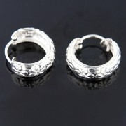 925 Sterling Silver 14 mm Flower Laser Cut Round Hoop Earring