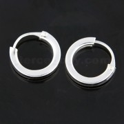 925 Sterling Silver 10 mm Round Hoop Earring