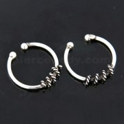 Flexible Sterling Silver Circular Rope Fake Septum Piercing