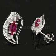925 Sterling Silver Multi Color Long Leaf Jeweled Fancy Ear Stud