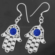 Center jeweled Hamsa Hand 925 Sterling Silver Hook Earring