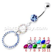 Dangling Jeweled Round Hangings Belly Bar