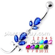 Tri Gems with tail Dangling Silver Belly Ring