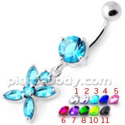 Jeweled Flower Dangling Navel belly bar