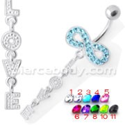 Infinity Love Jeweled Navel Belly Ring