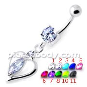 Center Jeweled Heart Silver Navel Ring