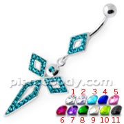4 Diamonds Silver Navel Belly Bar