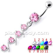 4 step Round Jeweled Dangling Navel Bar