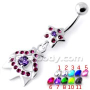 Multi Jeweled Star Navel Belly Banana PBM2089
