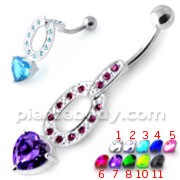 Jeweled Heart Dangling Belly Banana PBM2097
