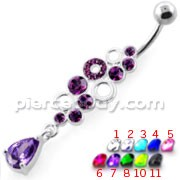 Jeweled Bubbles Dangling Navel Belly Banana
