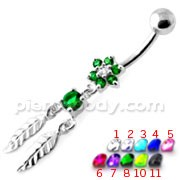 Flower with Dream Catcher Navel belly Bar