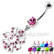 Fancy Multi Jeweled belly button piercing
