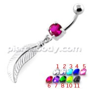 Linear Leaf cute belly button ring