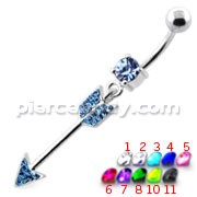 Multi Jeweled Arrow belly button ring
