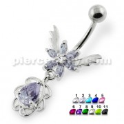 Flower with Wings navel ring