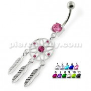 Flower Cut out Dream Catcher belly piercing