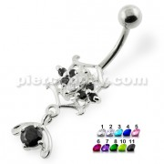 Fancy Jeweled sterling silver belly bars