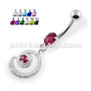 Dotted Pattern Round Dangling Navel Belly Piercing