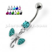 Multi Jeweled Elephant Head Belly Button Piercing