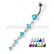 Dangling 5 Square Stones Navel Belly Button Piercing