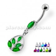 Framed Jeweled Leaf Dangling Navel Belly Piercing