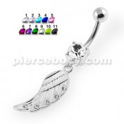 Jeweled Wings Belly Button Piercing