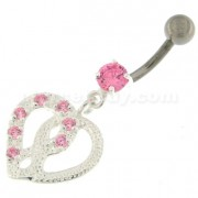 Jeweled Love Twin Hearts Sterling Silver Belly Button Piercing