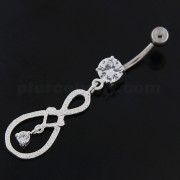 Single Jeweled Hanging in center Navel Belly button Ring