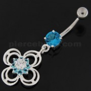Flower With Bow Jeweled Silver Belly Button Ring