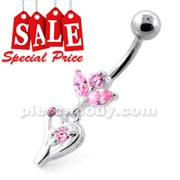 Fancy Jeweled heart Dangling Silver Navel Bar