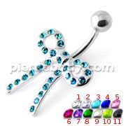 Tied Bow Jeweled Non Dangling Belly Bar