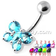 Round Jeweled Butterfly Non Dangling Navel Belly Bar