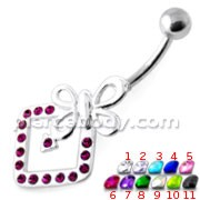 Butterfly Bow in Jeweled Angle Square Navel Bar