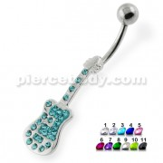 Multi Jeweled Guitar Belly Button Ring