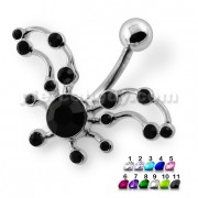 Bird Wings Cut out Jeweled Navel Belly Piercing
