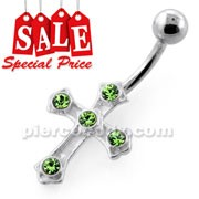 Jeweled Crucifix Silver Navel Bar