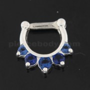 925 Sterling Silver 5 Paved Gems Septum Piercing