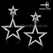 925 Sterling Silver Cubic Zirconia Star Dangle Ear ring Stud