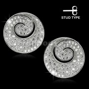 925 Sterling Silver Micro pave CZ Swirl Ear Stud