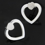 Heart Diamond Dot on Top of Heart Cut Ear Stud Ear Ring